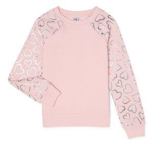 Girls Pink Fleece Sweatshirt Iridescent Hearts NEW